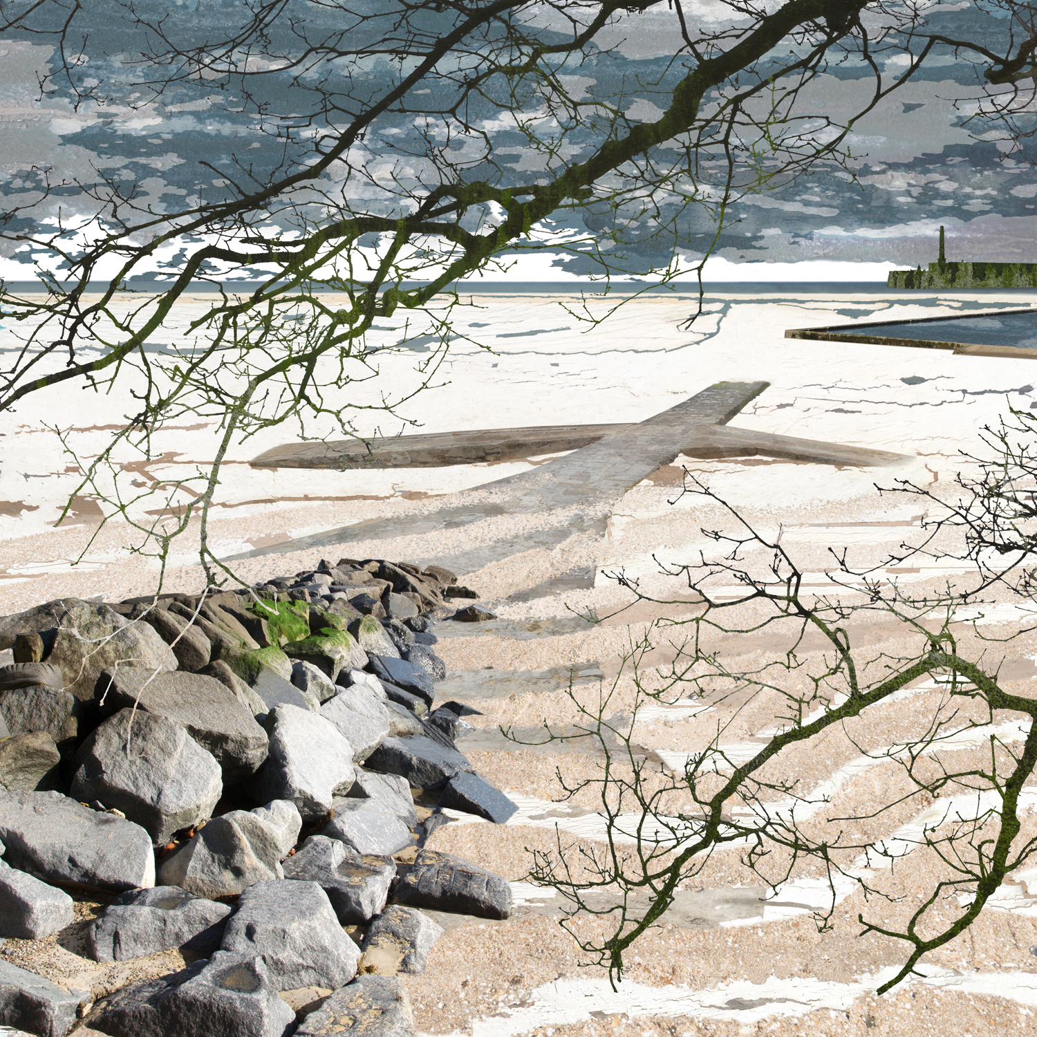 Claire Gill, Artist, Digital Photomontage, The Wasteland by TS Eliot, The Burial of the Dead, On Margate Sands, Lombard Street Gallery, The Wasteland, TS Eliot, Photomontage, Limited Edition Print, Margate, sea