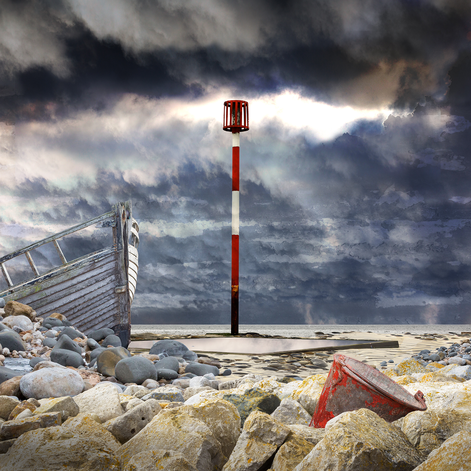Claire Gill, Artist, Digital Photomontage, The Wasteland by TS Eliot, What the Thunder Said, On Margate Sands, Lombard Street Gallery, The Wasteland, TS Eliot, Photomontage, Limited Edition Print, Margate, sea