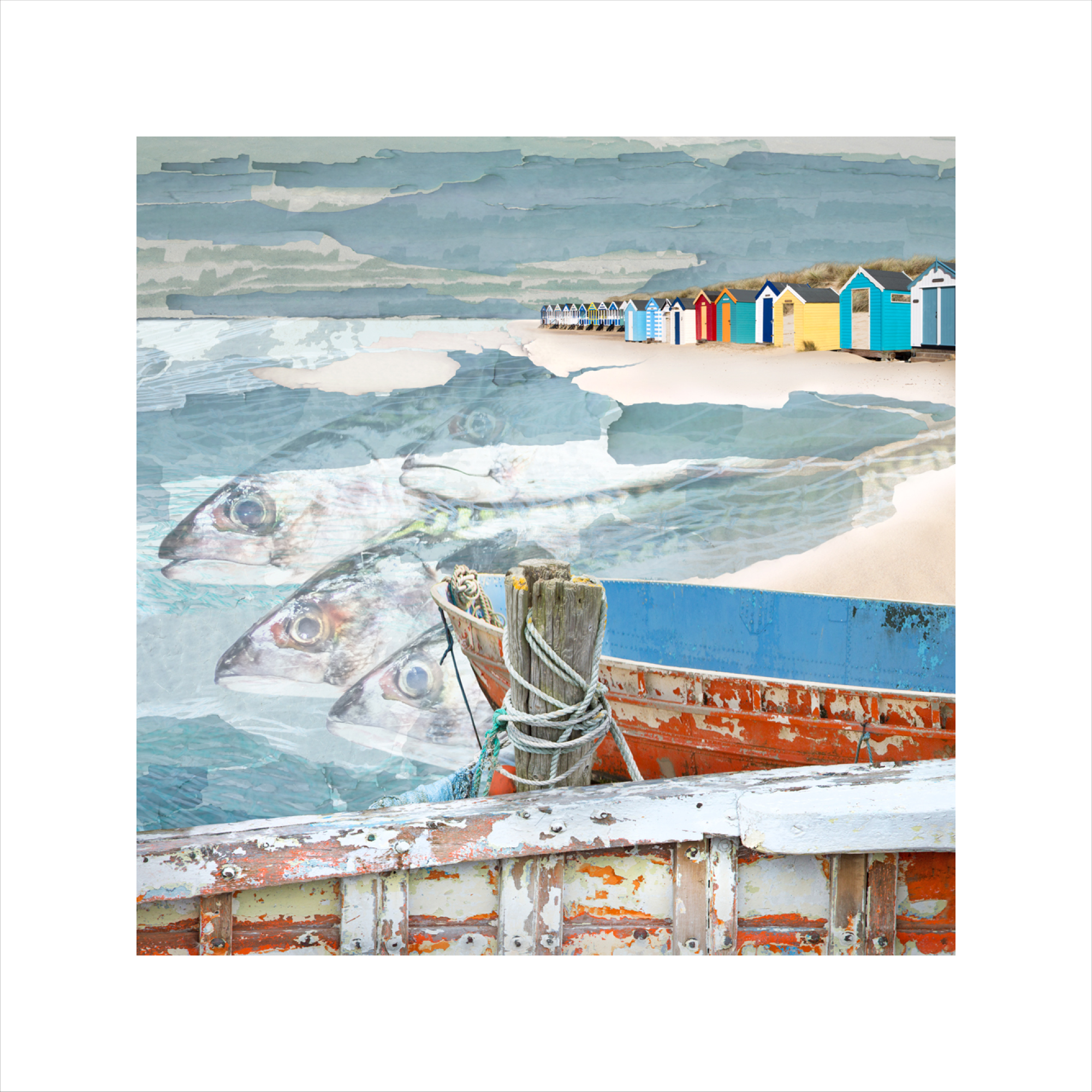 Claire Gill, Arist, Limited Edition Prints, Seascape 64 limited edition print, buy art, seascapes, collect art, beach, boat, coastal art, Southwold