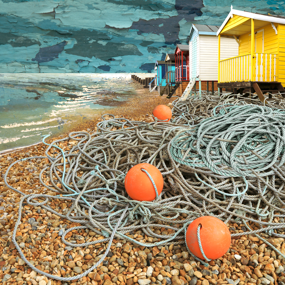 Claire Gill. fine art card, fine art greeting card, greeting card, seascapes, photomontage, coastal art, limited edition prints, seascape 36, Whitstable, Tankerton, Buoys, beach, beach huts