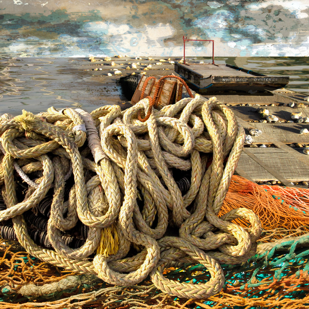 Claire Gill. fine art card, fine art greeting card, greeting card, seascapes, photomontage, coastal art, limited edition prints, seascape 38, Whitstable Oyster Festival, Rope, Whitstable