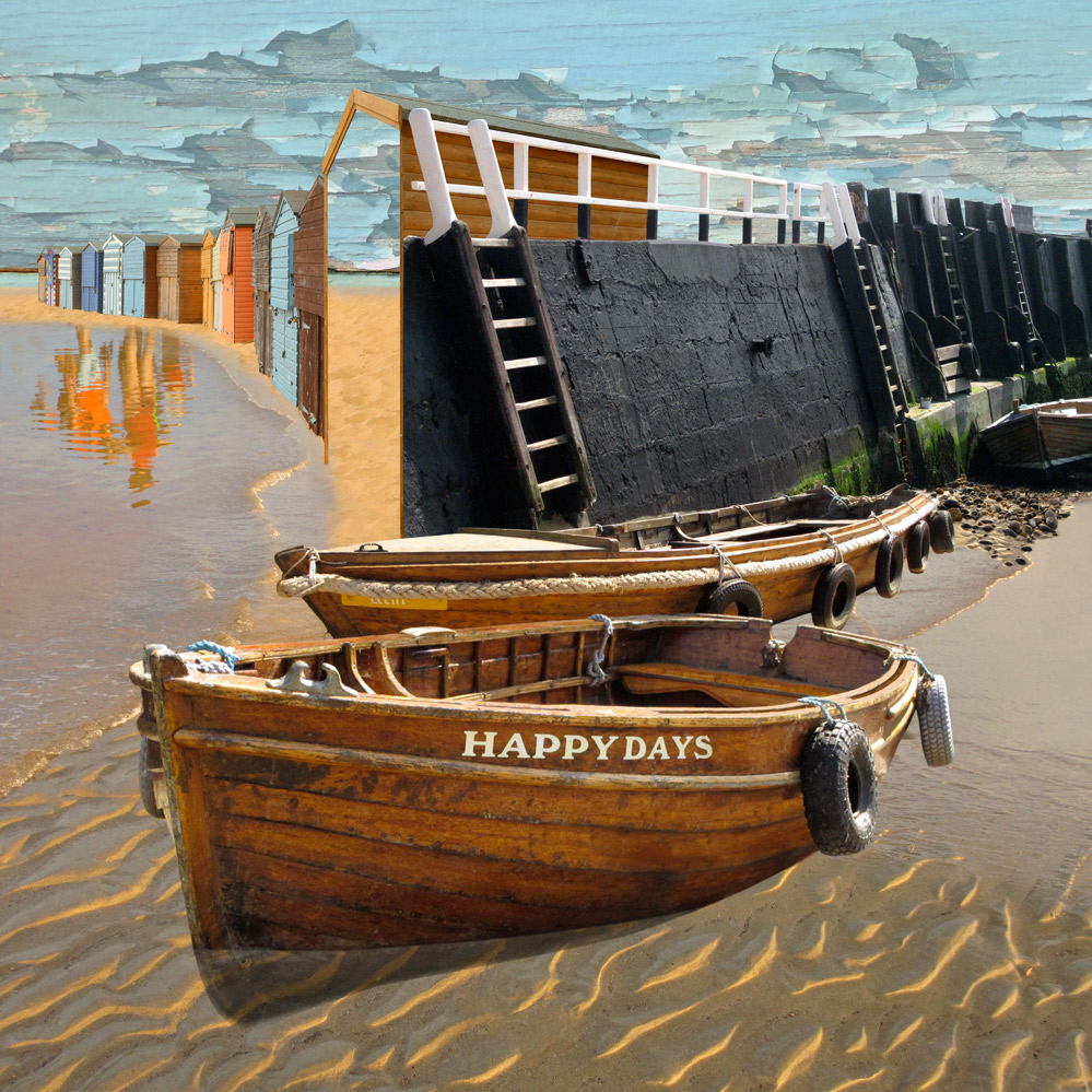 Claire Gill. fine art card, fine art greeting card, greeting card, seascapes, photomontage, coastal art, limited edition prints, seascape 42, Happy Days, Boats, Broadstairs