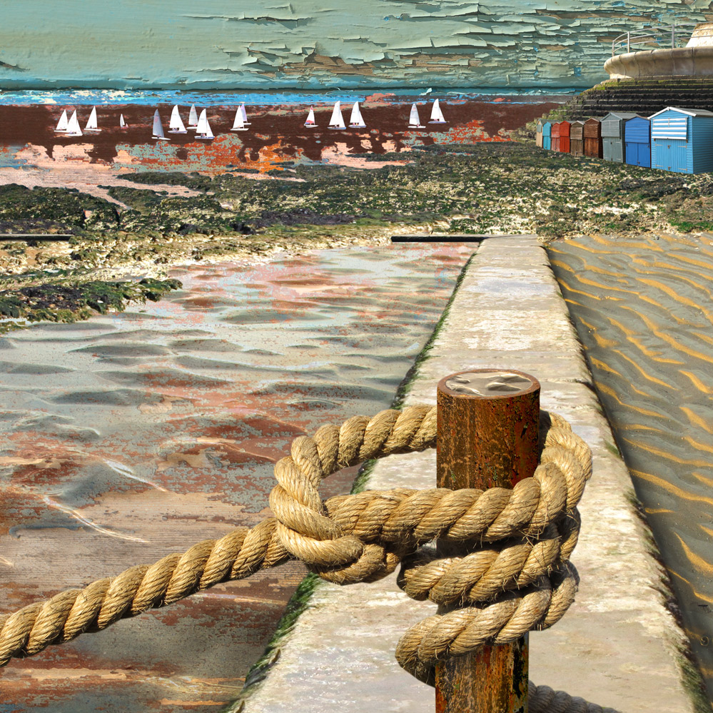Claire Gill. fine art card, fine art greeting card, greeting card, seascapes, photomontage, coastal art, limited edition prints, seascape 43, Braodstairs, Sailing