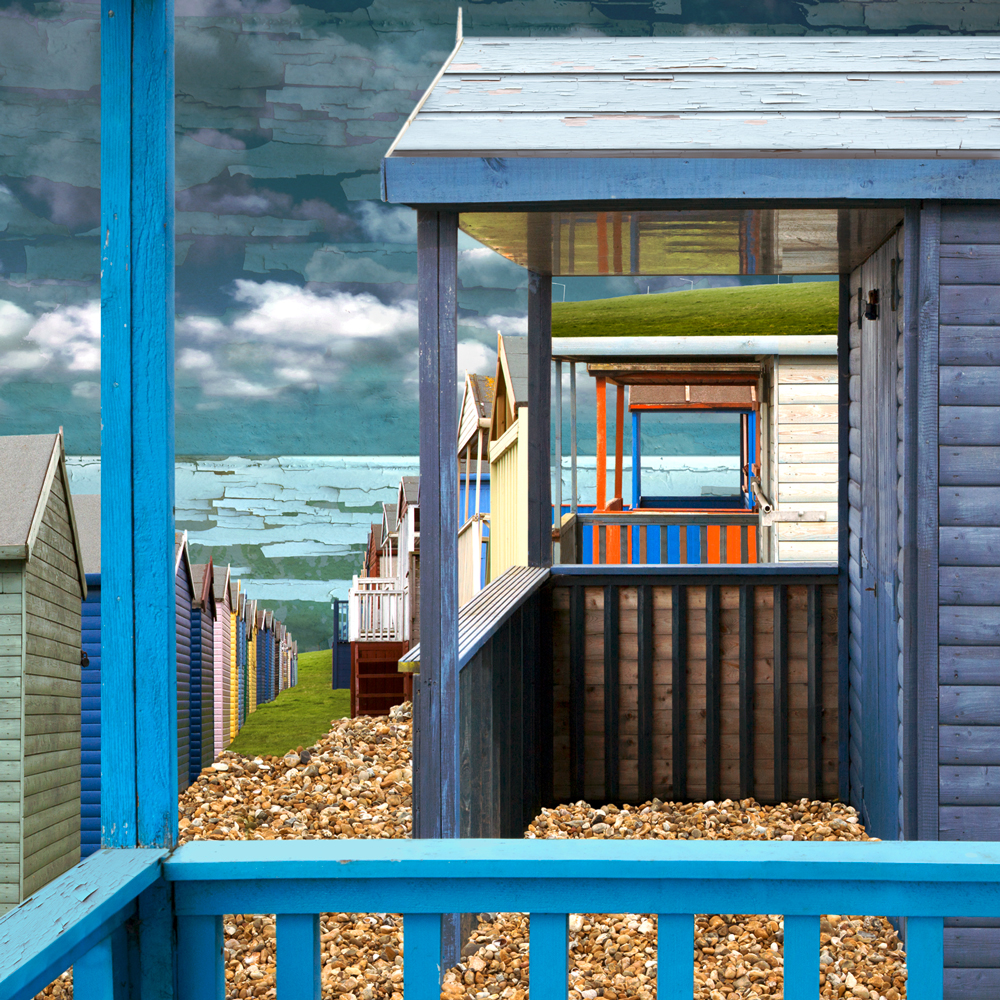 Claire Gill. fine art card, fine art greeting card, greeting card, seascapes, photomontage, coastal art, limited edition prints, seascape 44, Beach huts, Tankerton, Whitstable, Kent