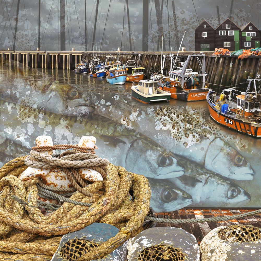 Claire Gill. fine art card, fine art greeting card, greeting card, seascapes, photomontage, coastal art, limited edition prints, seascape 46, Whitstable harbour, Whitstable, fish, harbour