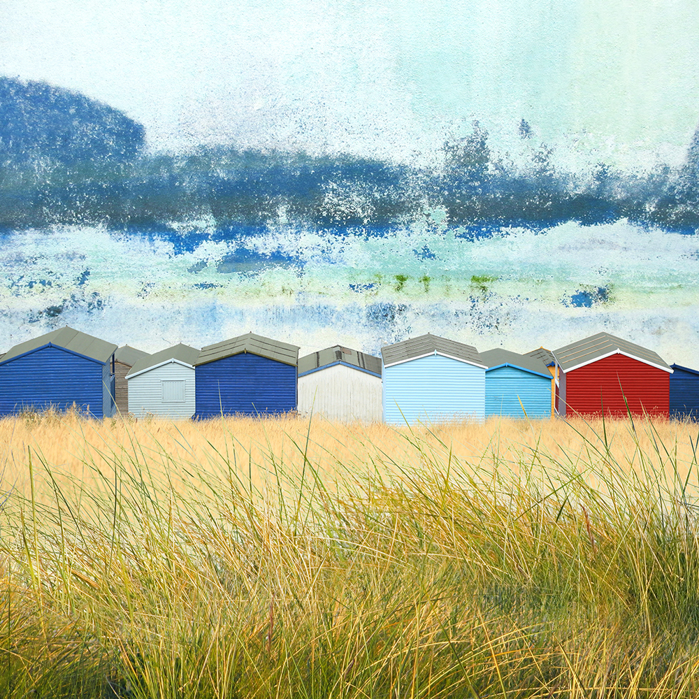 Claire Gill. fine art card, fine art greeting card, greeting card, seascapes, photomontage, coastal art, limited edition prints, seascape 50, Tankerton, beach huts, Whitstable, kent
