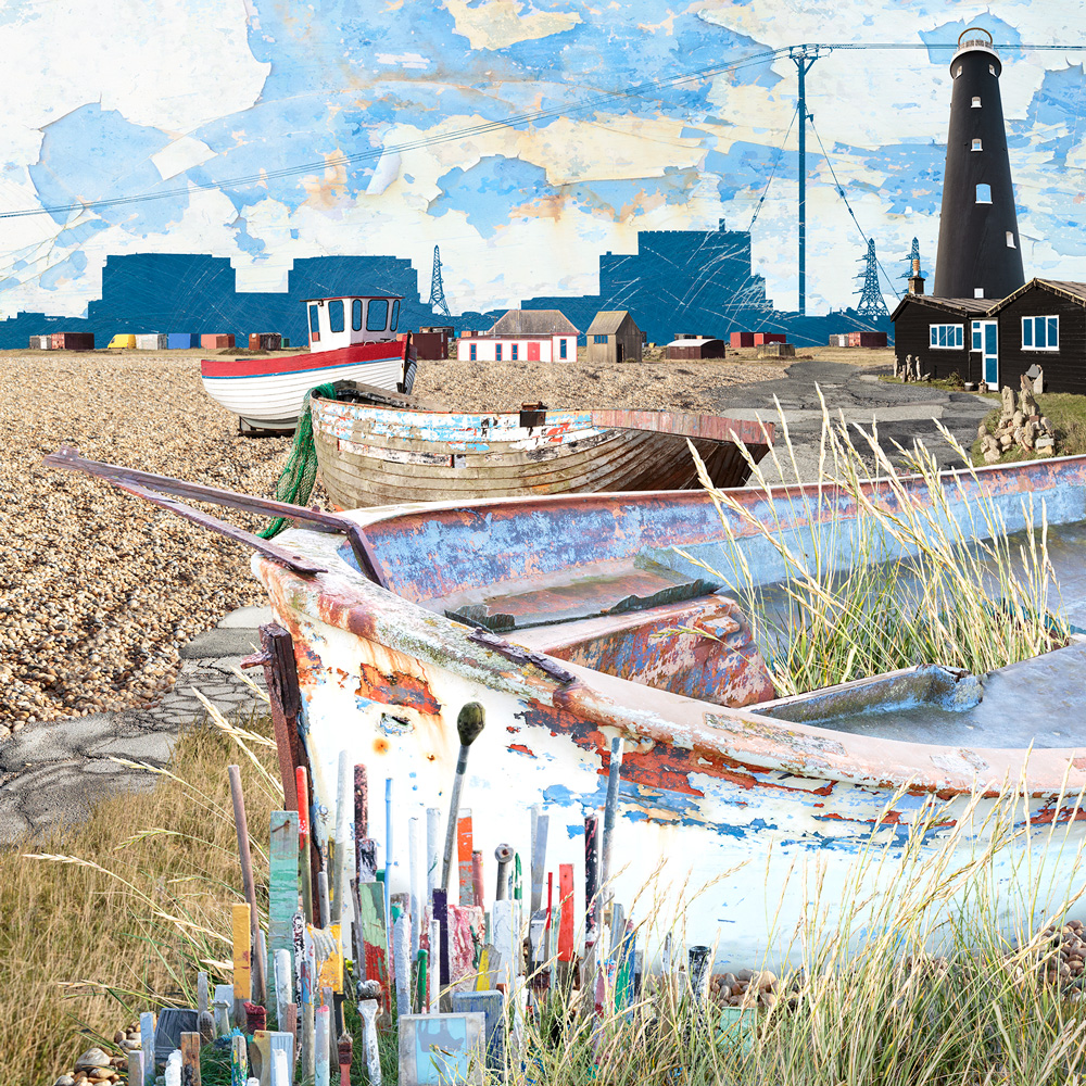 Claire Gill. fine art card, fine art greeting card, greeting card, seascapes, photomontage, coastal art, limited edition prints, seascape 59, Dungeness
