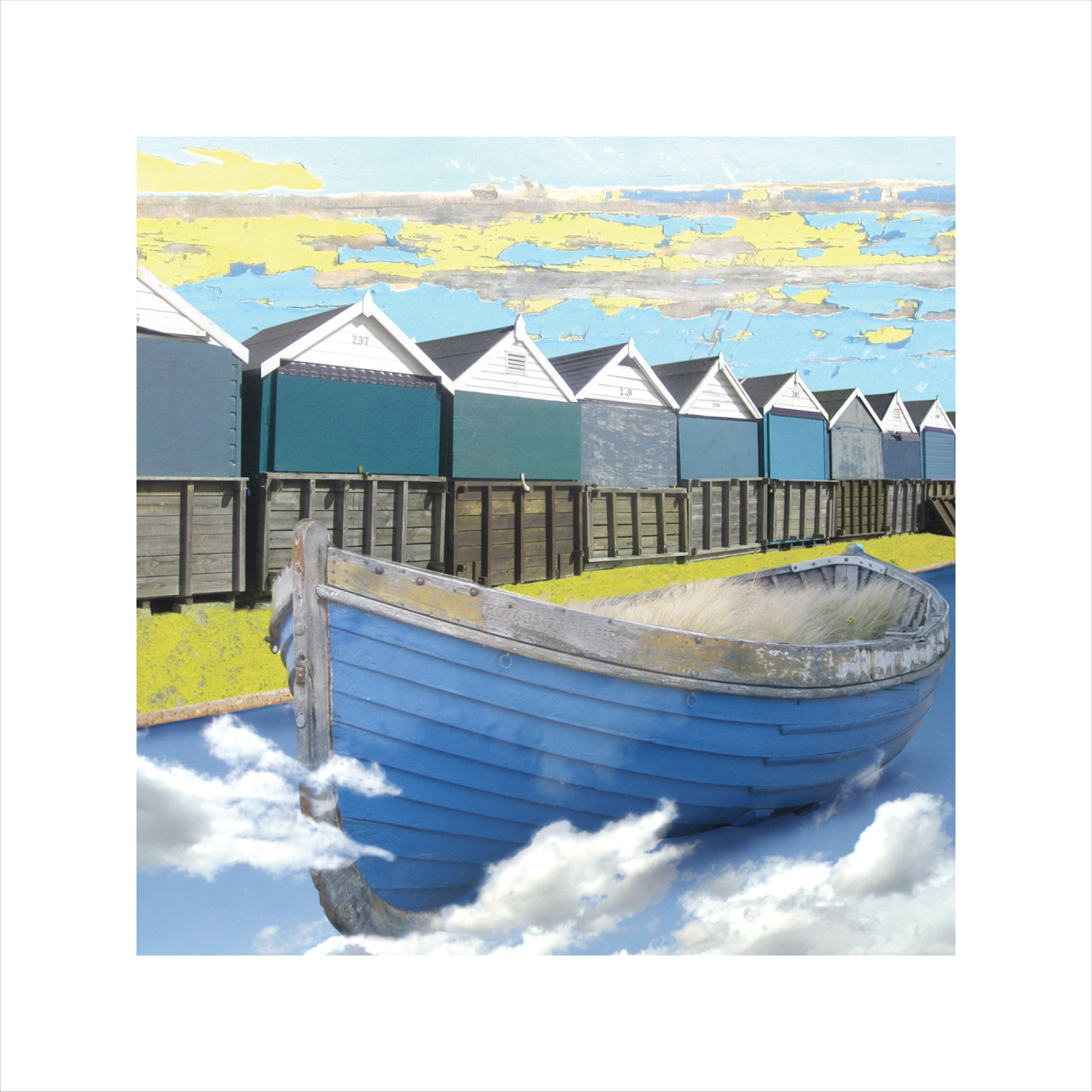 Claire Gill, Limited edition prints, digital photomontage, fine art prints, hahnemuhle, coastal art, Collect Art, seascape 3, Bournemouth, boat, clouds