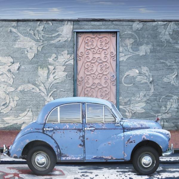 Claire Gill, Artist, Wallscape 14 Fine Art greeting Card, Fine Art greeting Card, digital photomontage, blue, Morris minor, car, buy art,