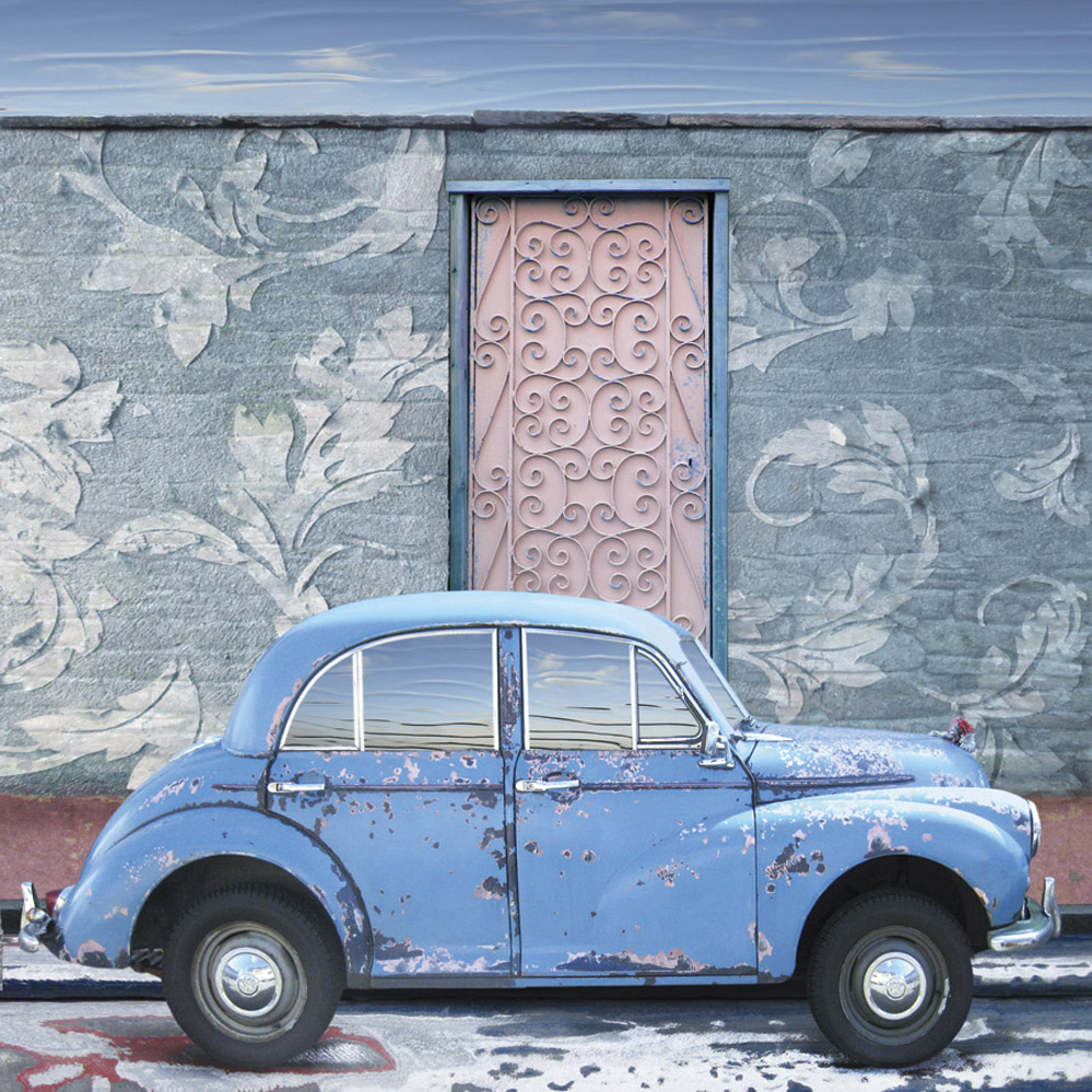 Claire Gill, Artist, Wallscape 14 Fine Art greeting Card, Fine Art greeting Card, digital photomontage, blue, Morris minor, car, buy art,