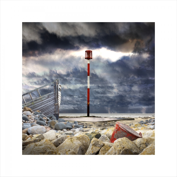 Claire Gill, Claire Gill Artist, Seascape, Limited edition print, Southwold, Digital Photomontage, Digital Art, Card, Buy Art, Collect Art, TS Eliot, The Wasteland, Journeys with the Wasteland, Lombard Street Gallery, On Margate Sands, What the thunder said