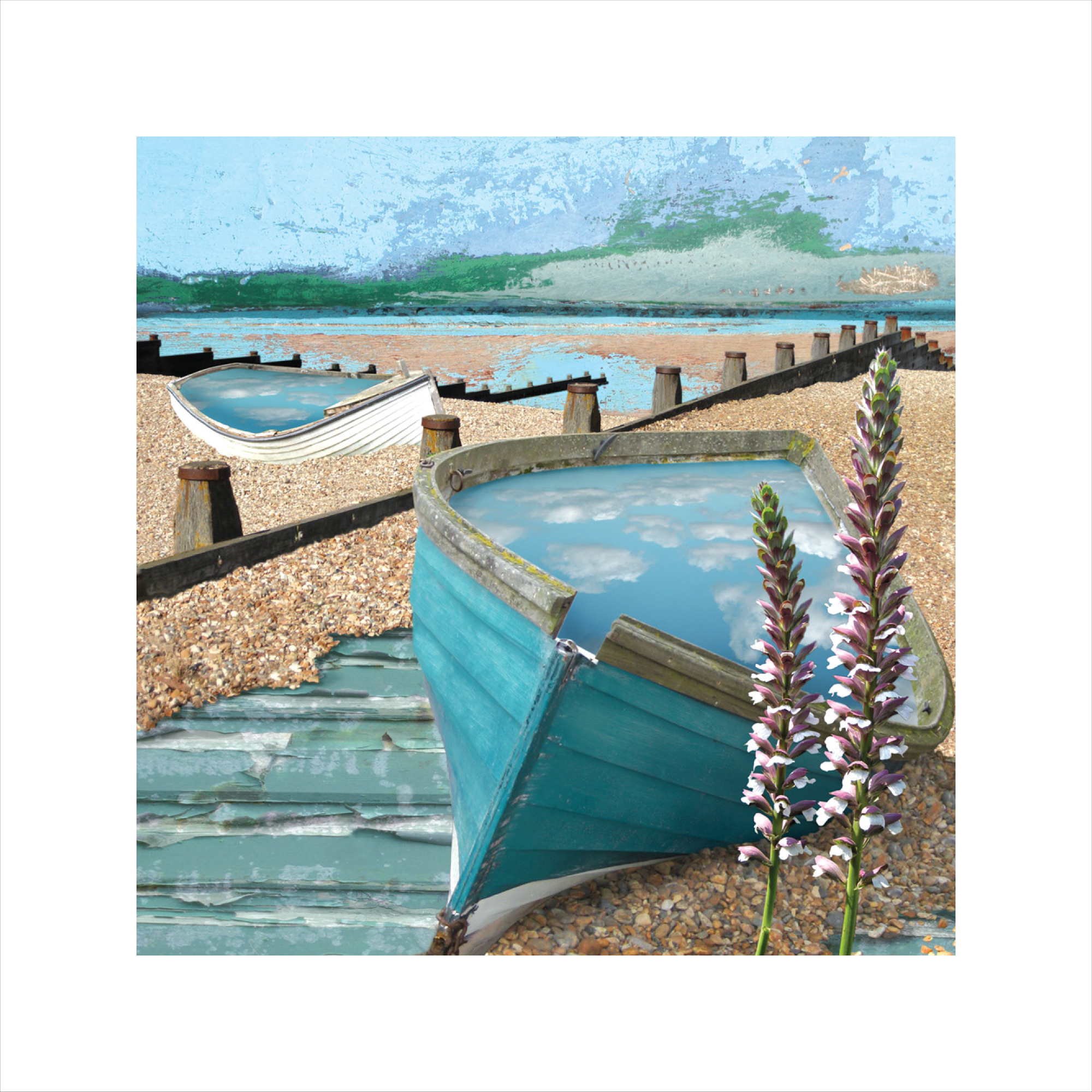 Claire Gill, Limited edition prints, digital photomontage, fine art prints, hahnemuhle, coastal art, Collect Art, seascape 9, Acanthus, Whitstable, Groins