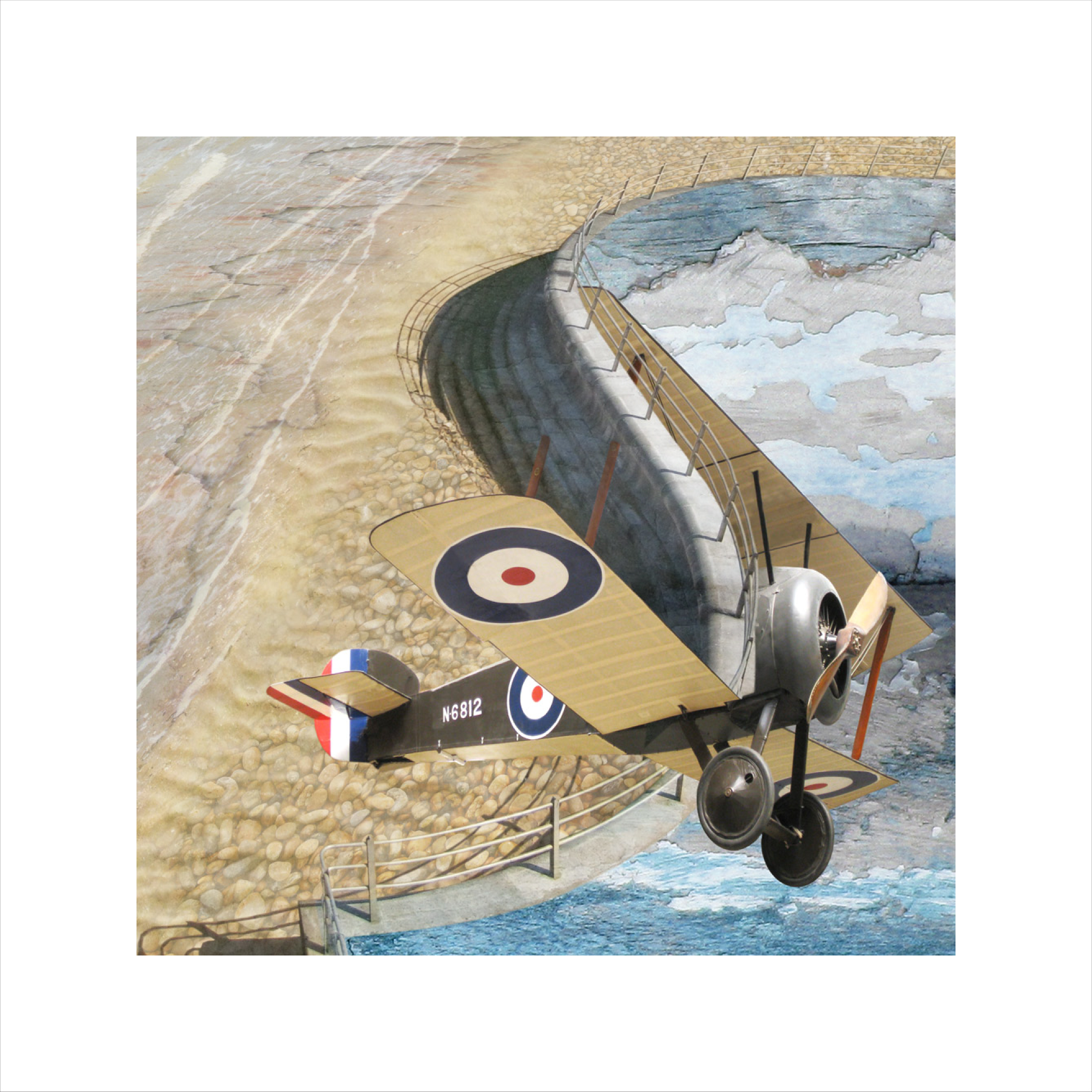 Claire Gill, Limited edition prints, digital photomontage, fine art prints, hahnemuhle, coastal art, Collect Art, seascape 17, Sopwith Camel, Imperial War museum, Broadstairs