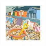 Claire Gill, digital photomontage, Limited edition print, Fine art print, collect art, Whitstable, beach huts, bucket and spade, beacht, seascape