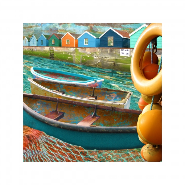 Claire Gill, digital photomontage, Limited edition print, Fine art print, collect art, seascape 23, coastal art, beach huts.life buoys