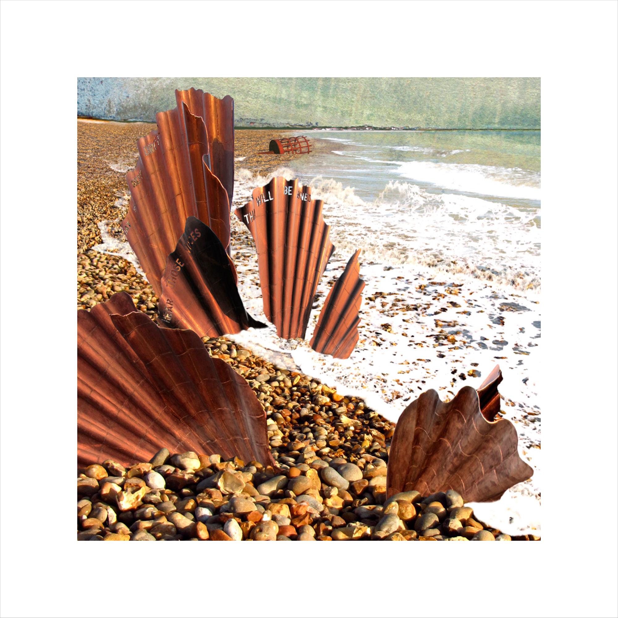 Claire Gill, digital photomontage, Limited edition print, Fine art print, collect art, seascape 27, coastal art, Aldeburgh, Maggi Hambling