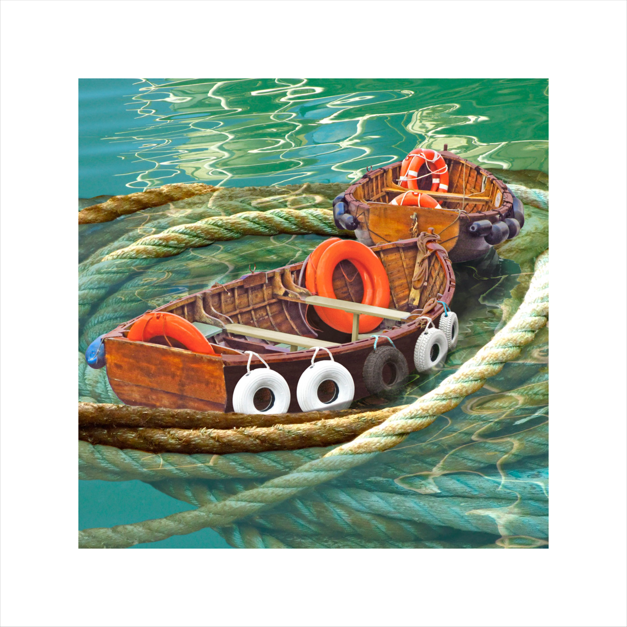 Claire Gill, digital photomontage, Limited edition print, Fine art print, collect art, seascape 29, coastal art, Whirlpool, boats, Weymouth