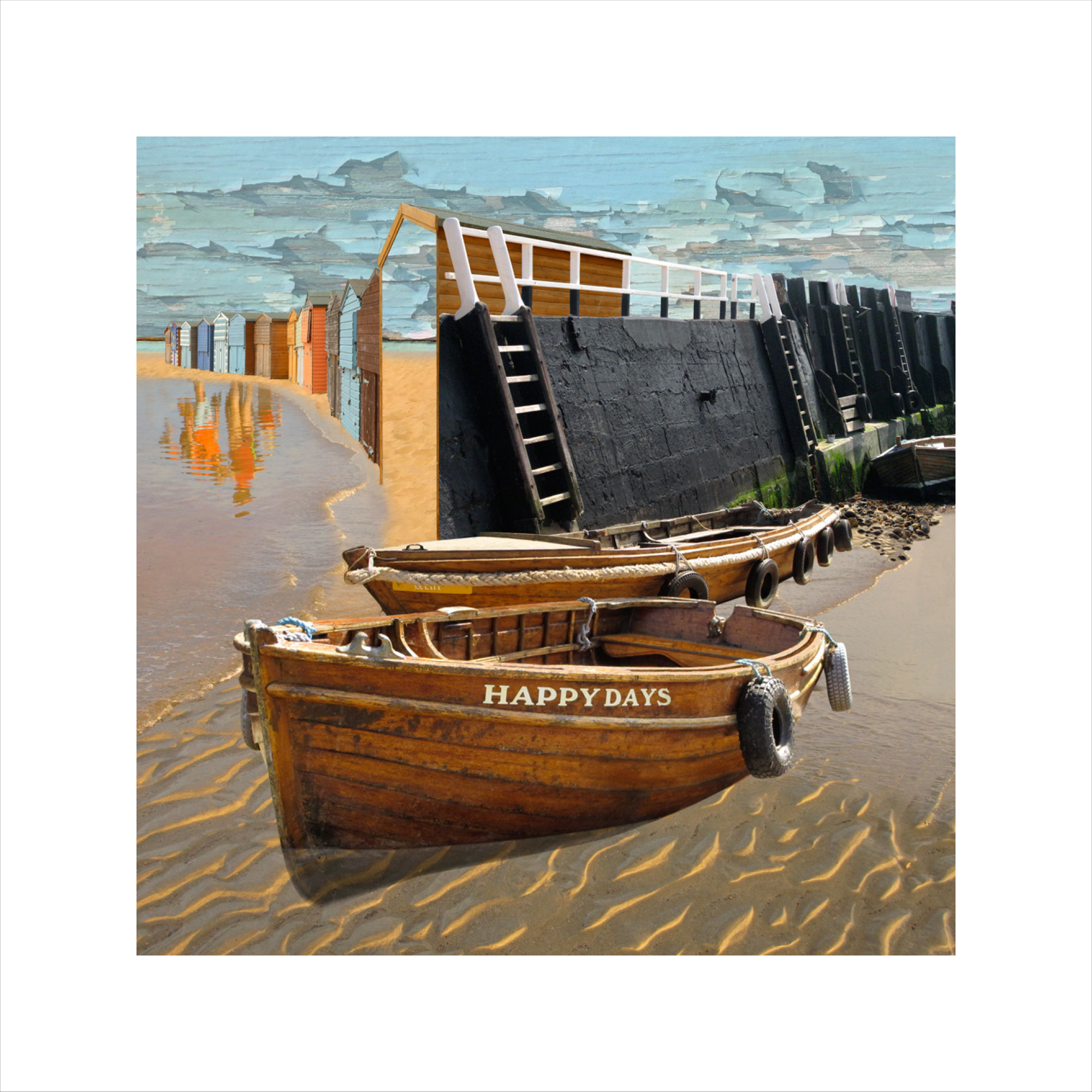 Claire Gill, Limited edition prints, digital photomontage, fine art prints, hahnemuhle, coastal art, Collect Art, seascape 42, Broadstairs, happy days, boats