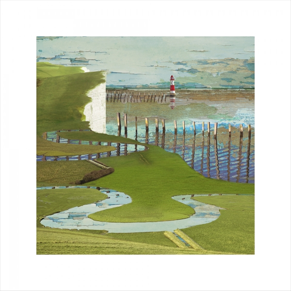 Claire Gill, Limited edition prints, digital photomontage, fine art prints, hahnemuhle, coastal art, Collect Art, seascape 45, Cuckmere, Birling Gap, Eastbourne, Lighthouse