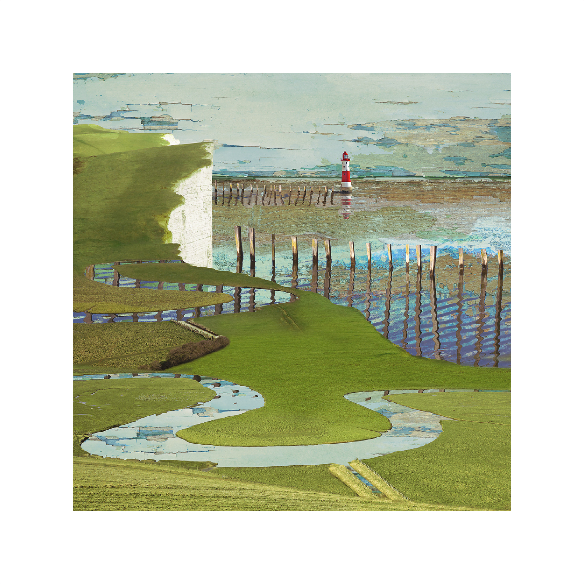 Claire Gill, Limited edition prints, digital photomontage, fine art prints, hahnemuhle, coastal art, Collect Art, seascape 45, Cuckmere, Birling Gap, Eastbourne, Lighthouse