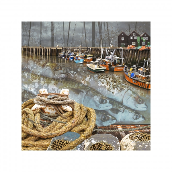 Claire Gill, Limited edition prints, digital photomontage, fine art prints, hahnemuhle, coastal art, Collect Art, seascape 46, whitstable harbour, fishing boats