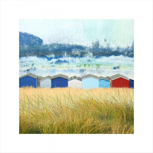 Claire Gill, Limited edition prints, digital photomontage, fine art prints, hahnemuhle, coastal art, Collect Art, seascape 50, Whitstable, Tankerton, Beach huts