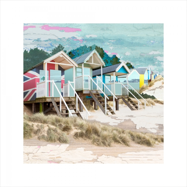 Claire Gill, Limited edition prints, digital photomontage, fine art prints, hahnemuhle, coastal art, Collect Art, seascape 53, Holkham, Wells next the Sea, North Norfolk, beach huts