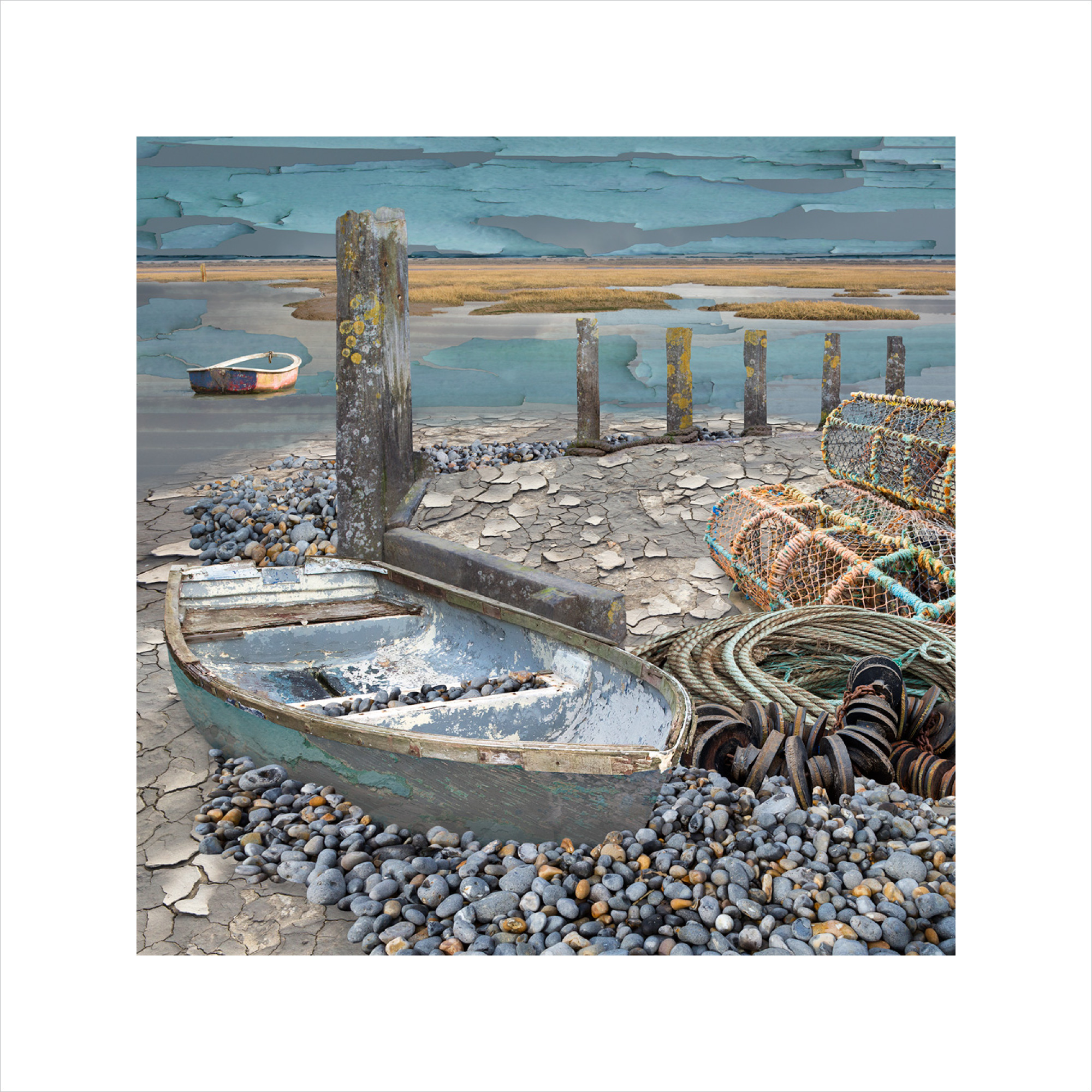 Claire Gill, Limited edition prints, digital photomontage, fine art prints, hahnemuhle, coastal art, Collect Art, seascape 59, North Norfolk