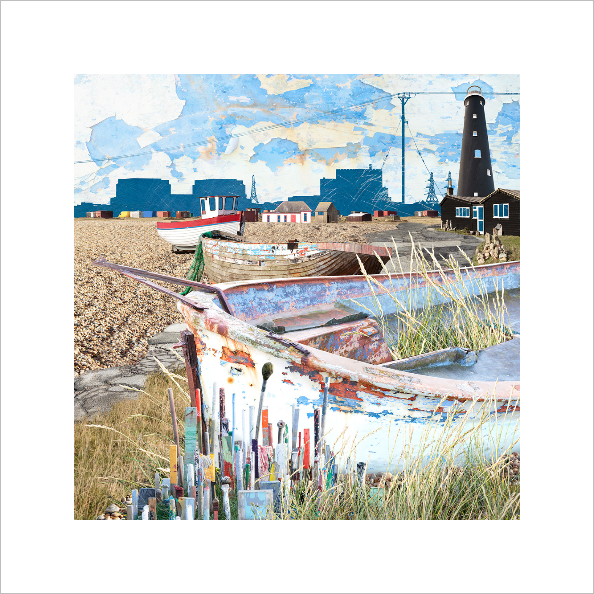 Claire Gill, Limited edition prints, digital photomontage, fine art prints, hahnemuhle, coastal art, Collect Art, seascape 59, Dungeness, power station