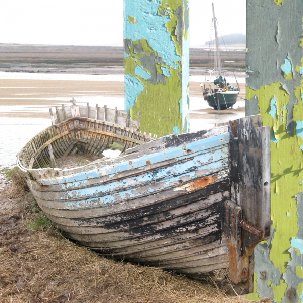 Claire Gill. fine art card, fine art greeting card, greeting card, seascapes, photomontage, coastal art, limited edition prints, seascape 5, blakeney boat, Blakeney, North Norfolk