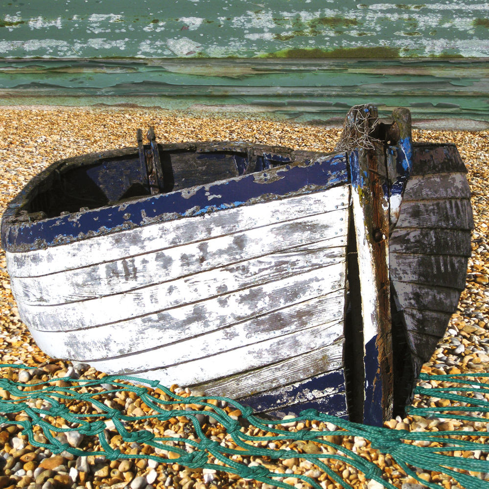 Claire Gill. fine art card, fine art greeting card, greeting card, seascapes, photomontage, coastal art, limited edition prints, seascape 10, aldeburgh, boat