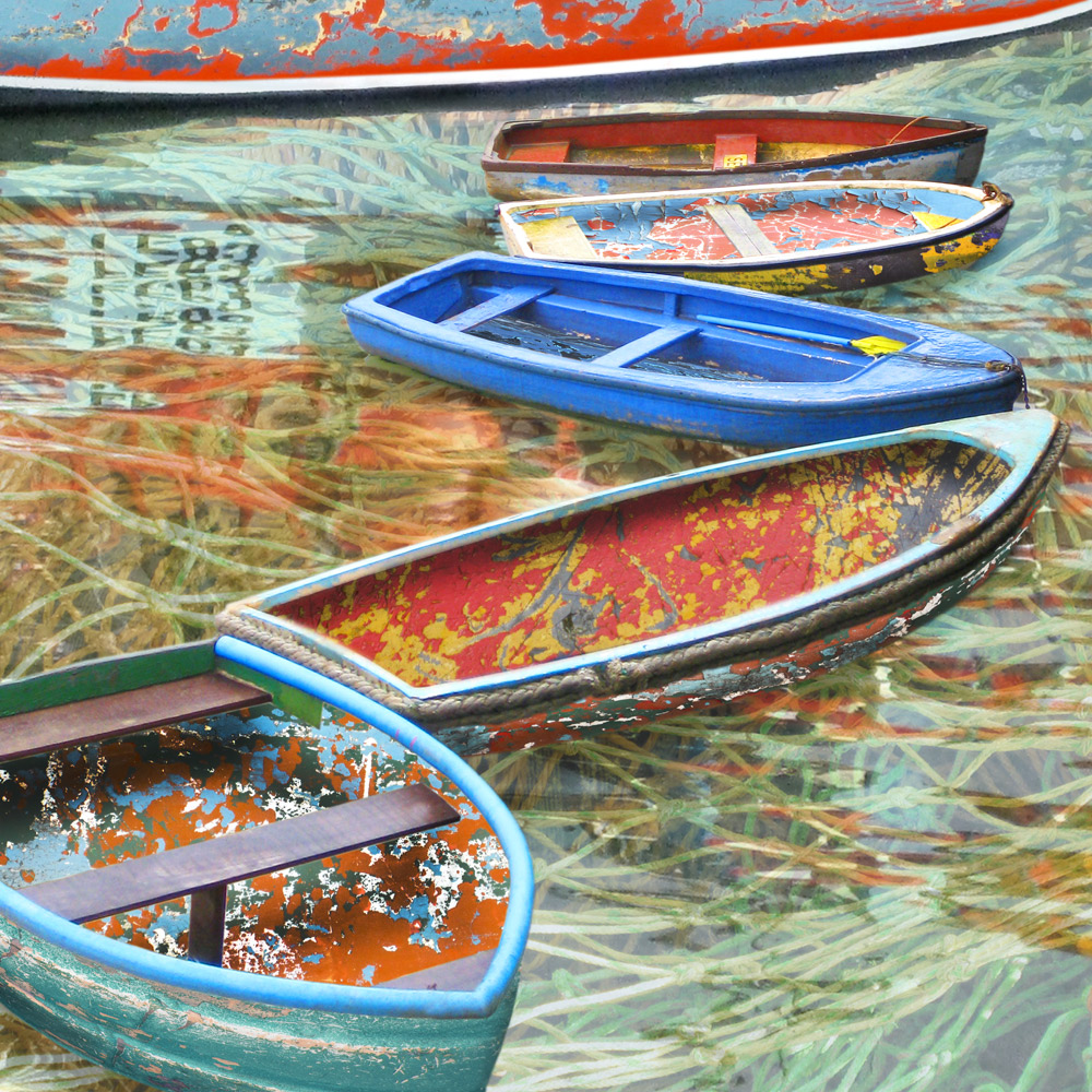 Claire Gill. fine art card, fine art greeting card, greeting card, seascapes, photomontage, coastal art, limited edition prints, seascape 18, boats