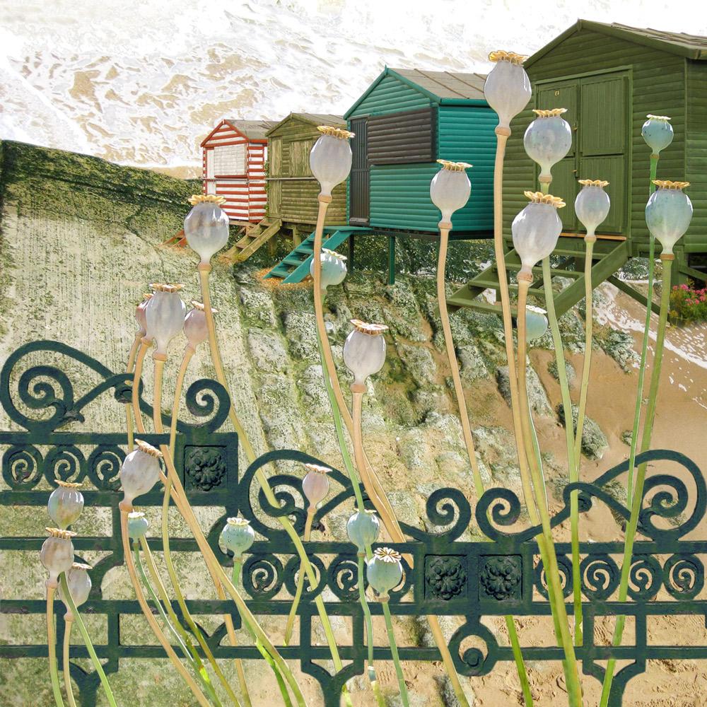 Claire Gill. fine art card, fine art greeting card, greeting card, seascapes, photomontage, coastal art, limited edition prints, seascape 19, poppyhead, beach huts