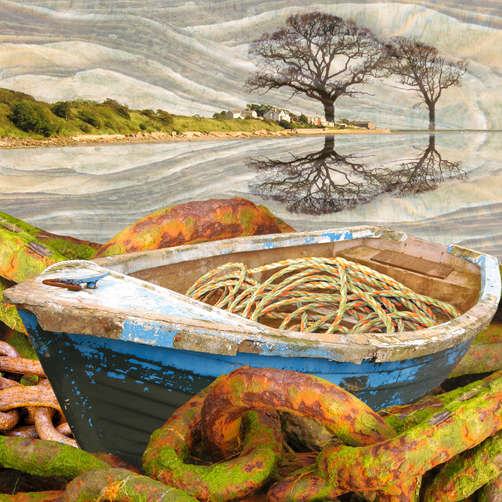 Claire Gill. fine art card, fine art greeting card, greeting card, seascapes, photomontage, coastal art, limited edition prints, seascape 21, Ravenglass, chains, boats
