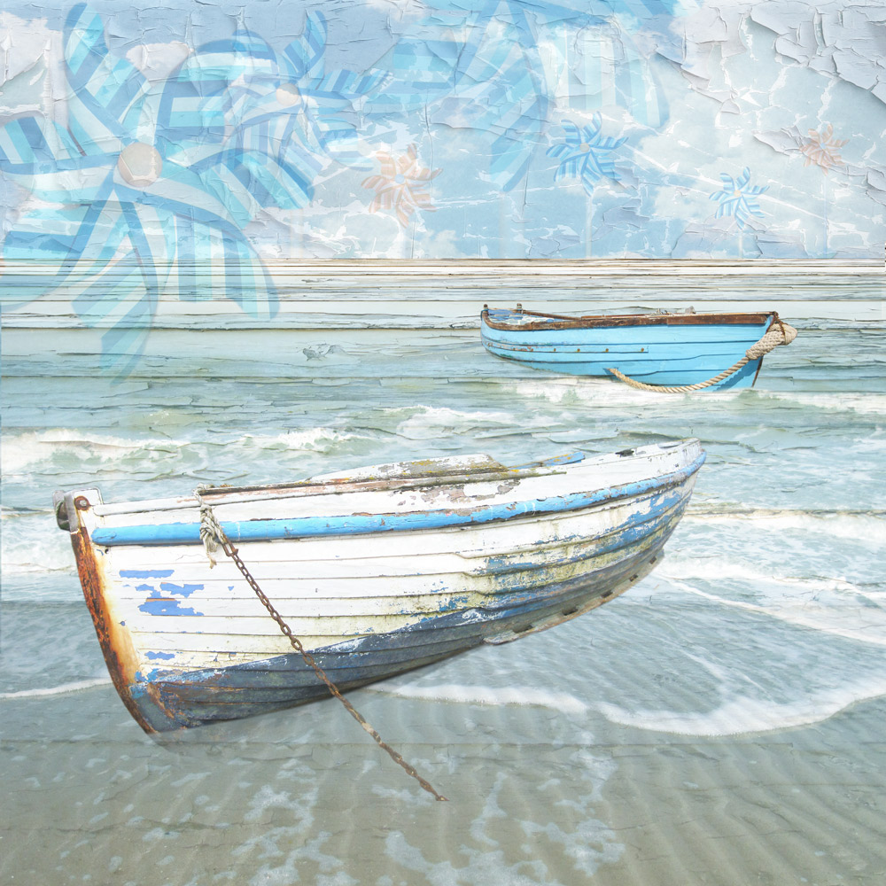 Claire Gill. fine art card, fine art greeting card, greeting card, seascapes, photomontage, coastal art, limited edition prints, seascape 22, dreamboats