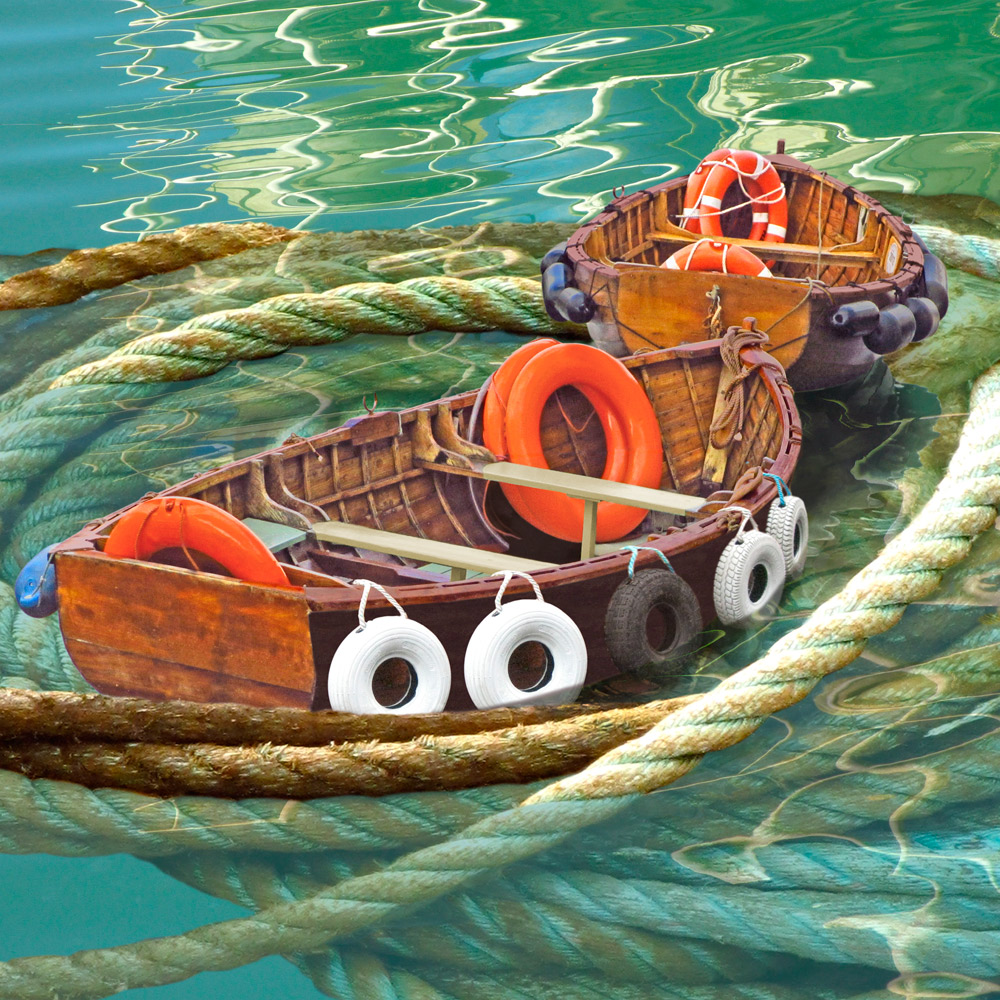 Claire Gill. fine art card, fine art greeting card, greeting card, seascapes, photomontage, coastal art, limited edition prints, seascape 29, Whirlpool, Rope, Boats, Weymouth Harbour, Weymouth